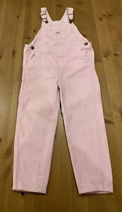OshKosh B'Gosh Girls 5T Pink & White Pun Striped Heart Overalls