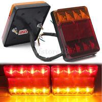 2x Feu Arrière Frein Plaque 8 LEDs Rouge + Jaune Étanche Voiture Camion Remorque