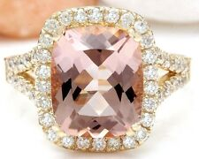 4.63CTW NATURAL MORGANITE AND DIAMOND RING IN 14K YELLOW GOLD