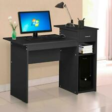 Home Office Corner Desk Wood Top PC Laptop Table WorkStation Furniture Black UN