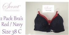 Ladies Bra SET OF 2 Size 38C Red/Navy Padded Adjustable Straps New With Tags