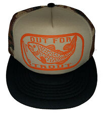 Out for Trout Tan Camo Camouflage  Snapback Mesh Trucker Hat Cap Fly Fishing O