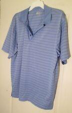 Izod Golf Shirt Men's Large Blue with Black and White Stripes Short Sleeve