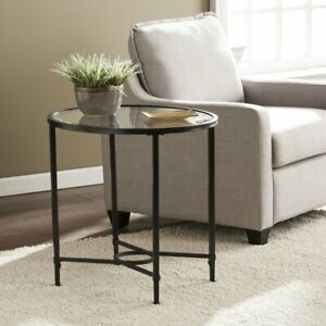 Furniture Quaker Metal/Glass Oval Side Table - Black End Table Coffee table