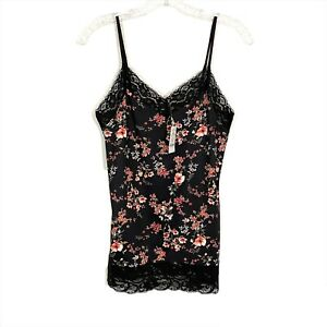 NEW White House Black Market Cami Top Womens Size Medium Black Wide Lace Floral