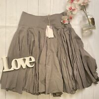 All Saints Size 8 grey cotton ruched ra ra new flared quirky grunge skirt NEW
