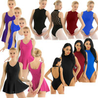 Women's Ballet Dance Leotard Dress Gymnastics Bodysuit Sleeveless Skirts Costume