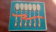 New. Set 6 TEA SPOONS Silver plated melechior USSR Soviet Vintag  in box