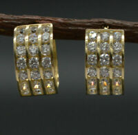 1.00 Ct 3-Row Channel Set Round Cut Diamond Hoop Earring 14K Yellow Gold Over