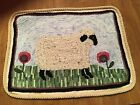 """Primitive Sheep  in Meadow Folk Art Style Hooked Wall Hanging Textile-20"""" x 15"""""""