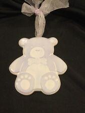 AMSCAN Ceramic Baby Wall Teddy Bear Light Blue / Lavender 449194