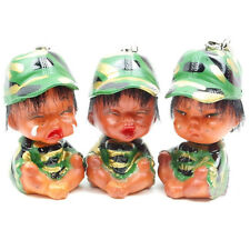 Ugly Figure Cell Phone Chain 3Pcs Set Funny Face Military Uniform Kids Doll