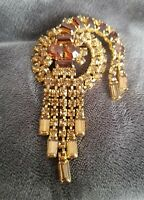 Vintage Amber Glass Gold Tone Brooch 70s Diamante true vtg dangly statement