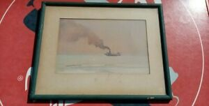 Antique watercolour signed Jasper Salwey F.R.S.A. 1948 POOLE HARBOUR SHELL BAY