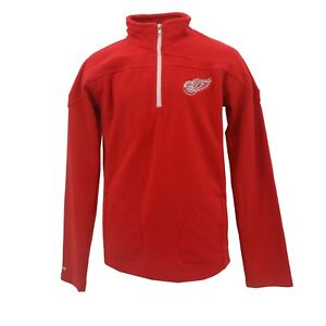 Detroit Red Wings NHL Reebok Kids Youth Size Quarter Zip Fleece Pull Over New