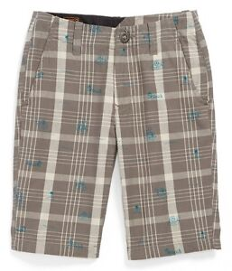 NEW VOLCOM BIG YOUTH FACETED PLAID SHORTS PANT COTTON CHINO FIT size 10-12 A282