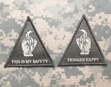 THIS IS MY SAFETY TRIGGER HAPPY BLACK HAWK DOWN USA ACU VELCRO®  2 PATCH SET