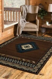 BROWN Southwestern 5x8 area rug for the home New!