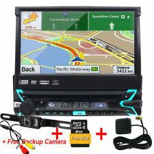 "Single 1DIN 7"" GPS Sat NAV DAB+ Car Stereo CD DVD Player USB Radio Bluetooth Cam"