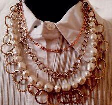 New Chico's Cora Multi Strand Faux Pearl Gold Tone Necklace