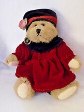 Bailey Bear 1993 Boyds Bear, Fall Red Black Corduroy Dress, Retired Rare