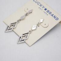 lucky brand jewelry antique vintage silver tone stud earrings drop dangle hoops