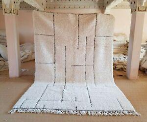 """Moroccan rug Beni Ourain 9'11""""x6'10"""" ft Wool Berber Moroccan carpet handmade"""