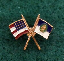 VINTAGE GIRL SCOUT CROSSED FLAGS PIN - 1941 BIRTHDAY GIVE-AWAY