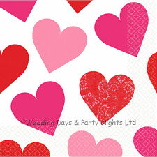 16 Love Hearts Paper Napkins Engagement Party Ruby Anniversary Red White Pink