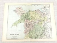 1889 Antik Map Of North Wales Carnarvon Montgomery Anglesey Welsh 19th Century