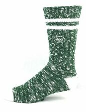 New York Jets NFL Alpine Crew Socks Green and White Heel an Toe Logo Leg - Large