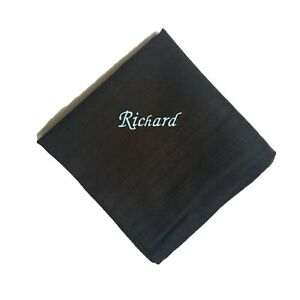 Personalised Embroidered Black Handkerchief Name - Funeral Memorial Service Emo