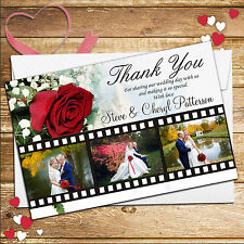 10 Personalised Wedding Day Camera Film Thankyou PHOTO Cards N102 Inc Envelopes