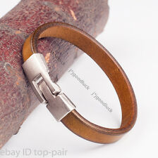 MEN'S RETRO SINGLE BAND SURFER QUALITY GENUINE LEATHER BRACELET WRISTBAND KHAKI