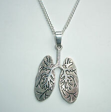 Lungs Body Part Pendant Silver Tone Necklace