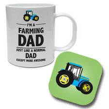 I'M A FARMING DAD - Farmer / Tractor / Funny Gift Idea Ceramic Mug & Coaster Set