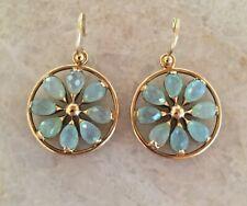 Elizabeth Showers Blue 18k Yellow Gold Prehnite Pinwheel Drop Earrings Sold Out