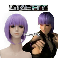 Dead Or Alive Ayane Purple Short 30CM Anime Cosplay Wig + Wig Cap