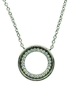 """SOLID 925 HALLMARKED STERLING SILVER 15MM PAVE SET CIRCLE OF LIFE 18"""" NECKLACE"""