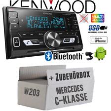 Kenwood Autoradio für Mercedes C-Klasse W203 2-DIN/Bluetooth/USB Auto Einbauset