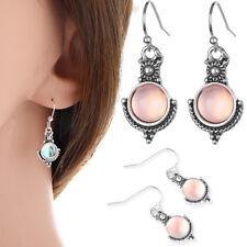 Birthday Gift Women Rainbow Moonstone Ear Studs Silver Plated Dangle Earring
