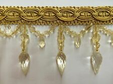 """4"""" Crystal Beaded Tassel Fringe Trim Antique Gold TF -32/12"""