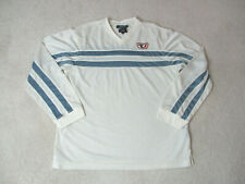 VINTAGE Tommy Hilfiger Long Sleeve Shirt Adult Medium White Blue Spell Out 90s