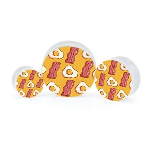 Eggs & Bacon White Acrylic Ear Plug Tunnel Stretching Gauges UV Printed