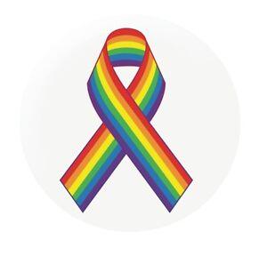 "Gay Pride Rainbow Ribbon 25mm 1"" button badge LBGT"