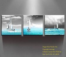 3 Panels Wall Art Canvas Framed Home Decor Painting Prints Modern Beach Yacht