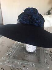 Nwt Fine Millinery Vintage Womens 100% Wool NavyChurch Hat Satin Flower Trim