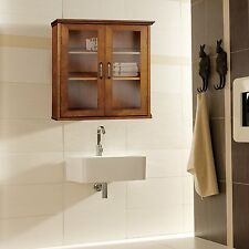 Avery Brown Country Wall Cabinet with 2 Glass Doors for Kitchen/Bathroom Storage