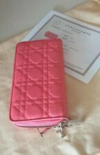 Christian Dior Cannage Continental Lambskin Wallet Pink