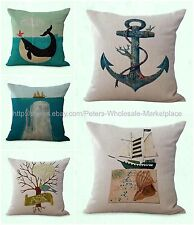 set of 5 pillow cases cushion covers retro bird peacock bottle garden fish